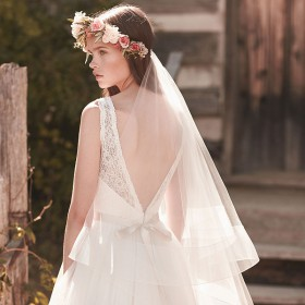 handmade fingertip length boho wedding veil two tier tulle veil 1