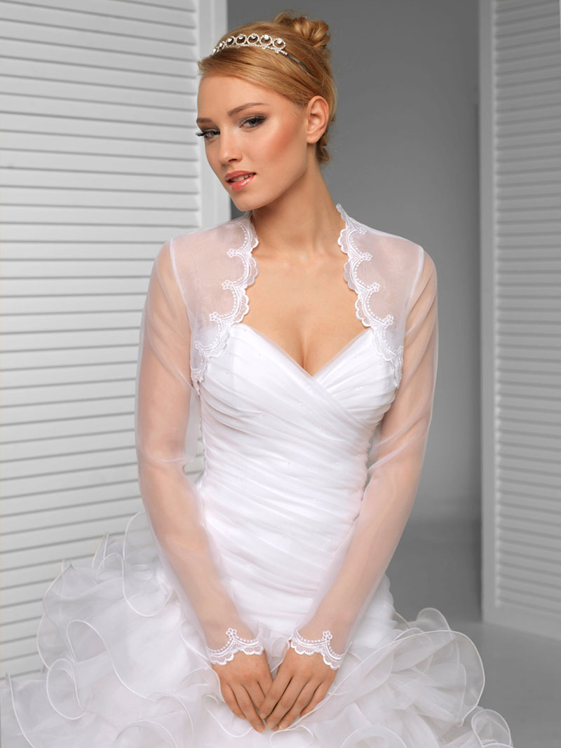 Long Sleeve Tulle Shawl Jacket Scalloped Bridal Bolero