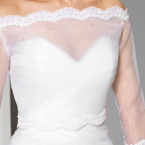 Wedding Gown Cover Ups: Off-the-shoulder Illusion Tulle Bolero Scalloped Lace