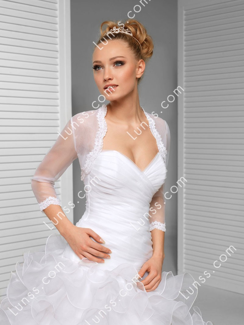 Scalloped applique embellished wedding bolero white 3 4 for Wedding dress with shrug