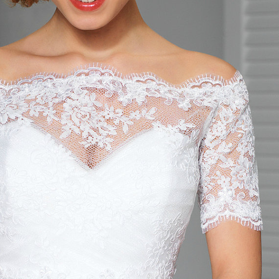 White Wedding Lace Top Off The Shoulder Bridal Bolero