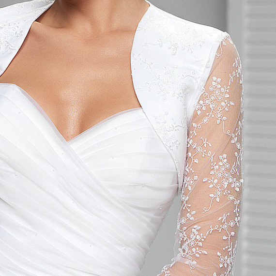 Illusion Long Sleeve Lace Bridal Bolero White Wedding