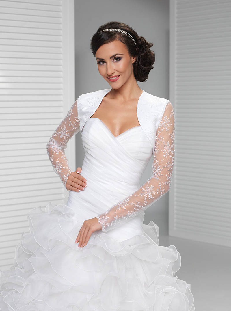 Illusion long sleeve lace bridal bolero white wedding for Wedding dress long sleeve lace jacket