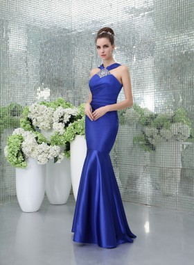 tank straps royal blue beaded trumpet elegant evening prom dress 1