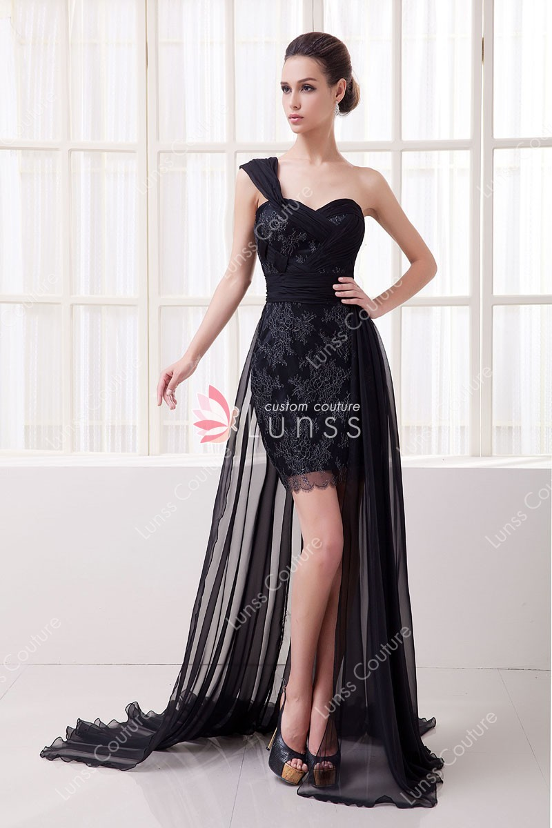 Black Floral One Shoulder Short Bodycon Prom Dress with Sheer ...