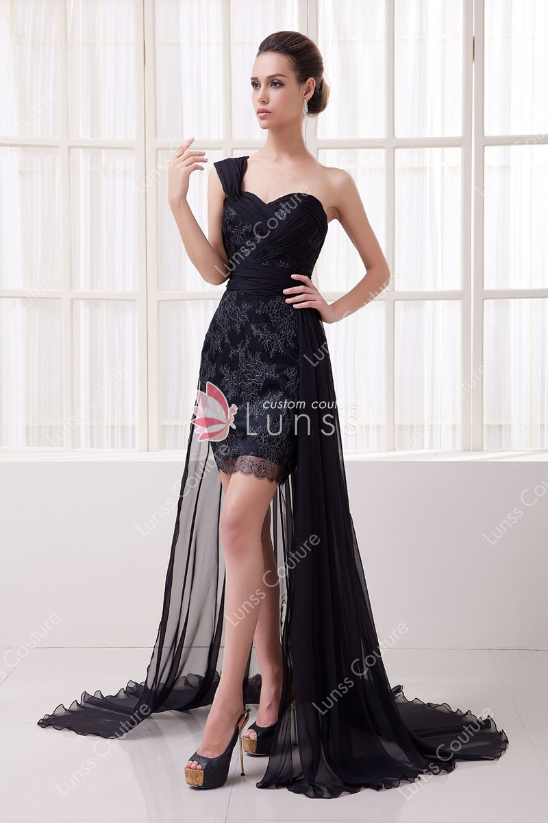 Black Floral One Shoulder Short Bodycon Prom Dress with