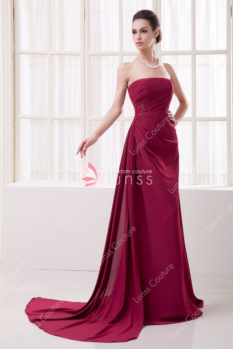 Simple Straight Strapless Side Draped Wine Chiffon A Line Long Evening Dress