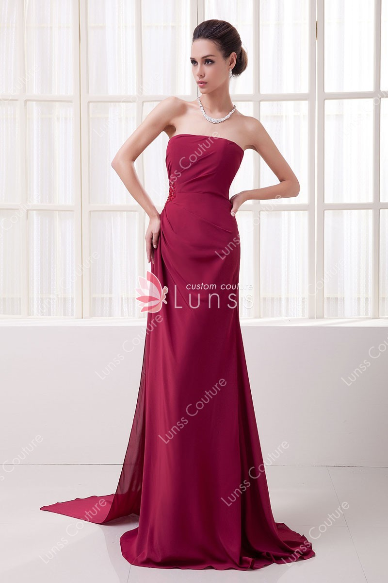 Simple Straight Strapless Side Draped Wine Chiffon A-line Long ...
