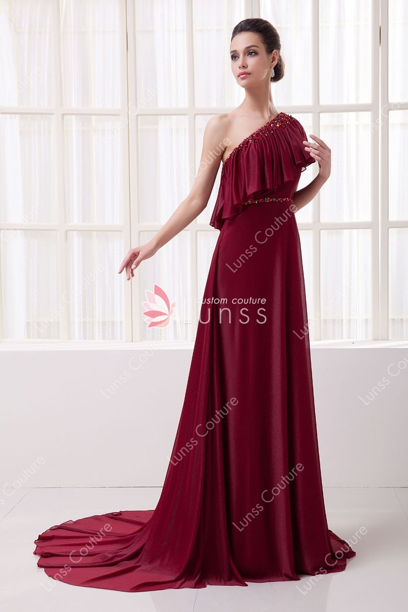 Draped Asymmetrical One Shoulder Rhinestone Wine Chiffon Unique ...