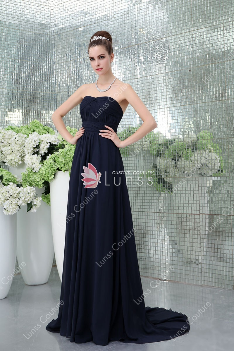 Navy Chiffon Strapless Empire Waist Simple Yet Elegant Long Evening Dress