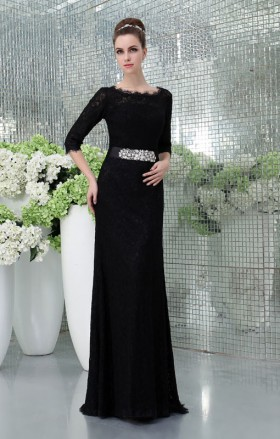 black lace scalloped bateau neck 3 4 sleeve slim elegant formal evening dress
