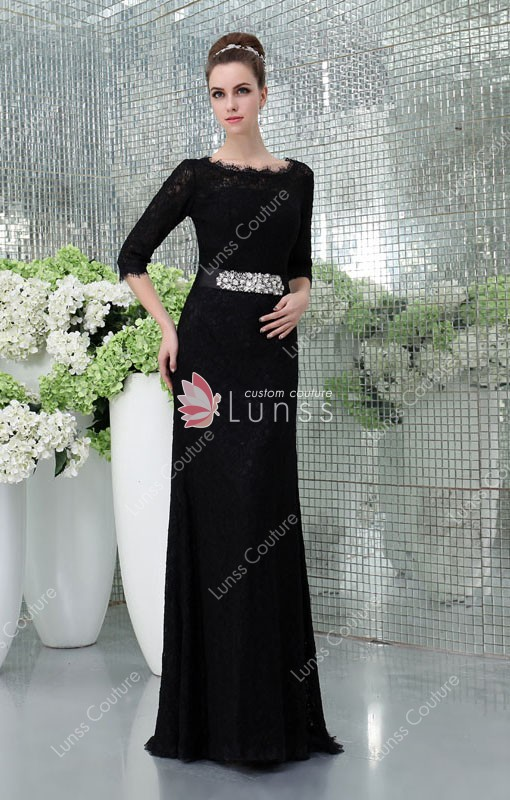 Black Lace Scalloped Bateau Neck 3/4 Sleeve Slim Elegant Formal ...
