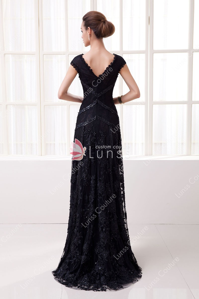Black Sequin Lace Slim A Line Long Evening Dress Lunss