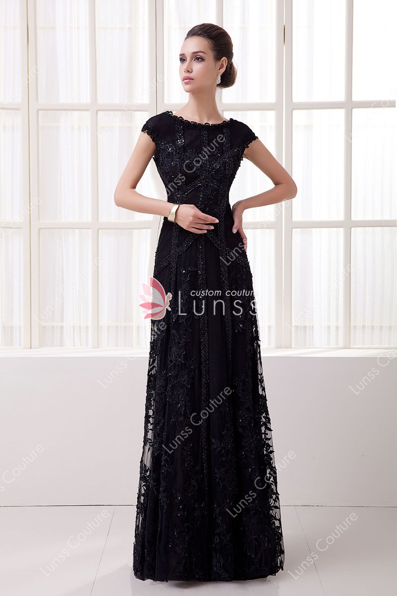 Black Lace Cap Sleeve Sequin Slim A-line Elegant Long Evening Dress ...