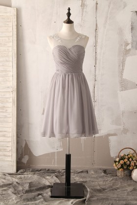 illusion neck fine pleated grey chiffon casual short bridesmaid dress 1