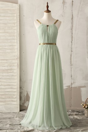 unique gold strap floor length a line light green chiffon bridesmaid dress