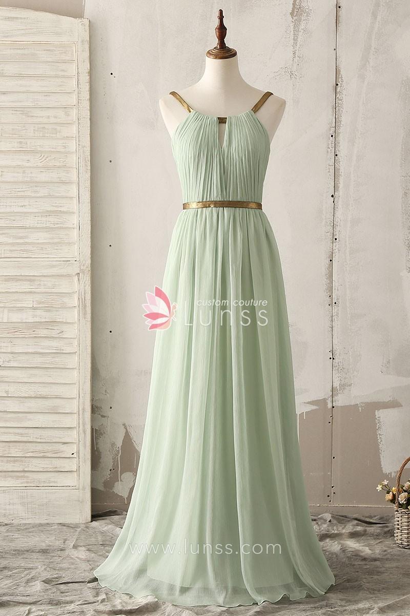 Unique gold strap floor length a line light green chiffon for Light green wedding dress