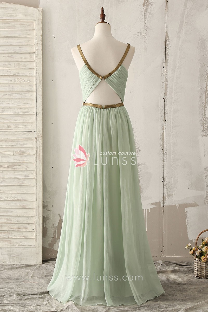 Unique gold strap floor length a line light green chiffon unique gold strap light green chiffon bridesmaid dress 3 ombrellifo Gallery