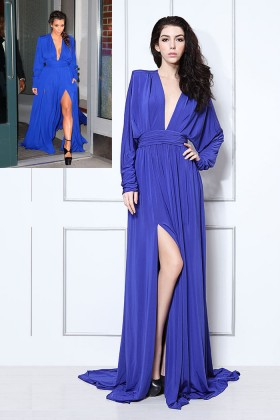 kim kardashian style royal blue sexy evening dress v neckline side slit