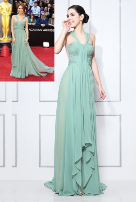 sage green chiffon maria menounos oscars style prom formal dress