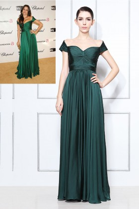 off the shoulder green chiffon sofia vergara celebrity inspired prom dress