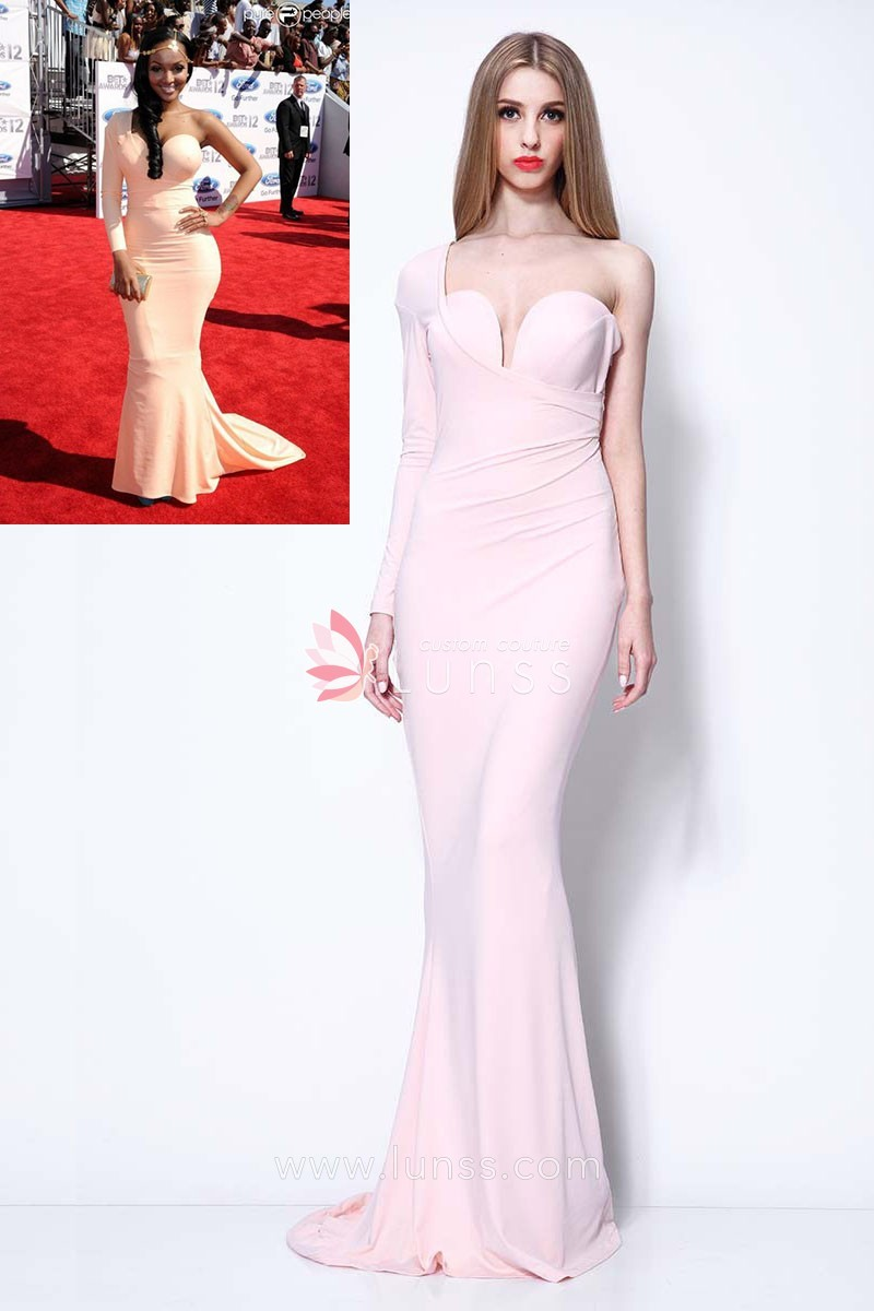 one long sleeve light pink mermaid stylish prom gown lola monroe bet awards
