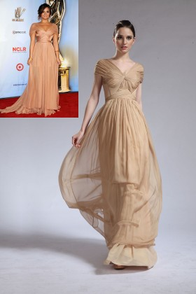 pleated champagne chiffon v neck demi lovato inspired dramatic prom dress 1
