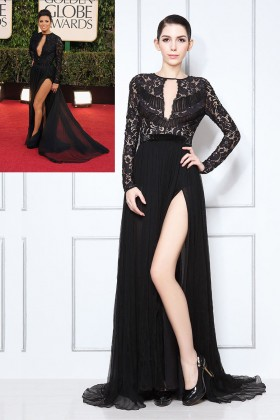 black lace and chiffon sexy slit prom dress 1