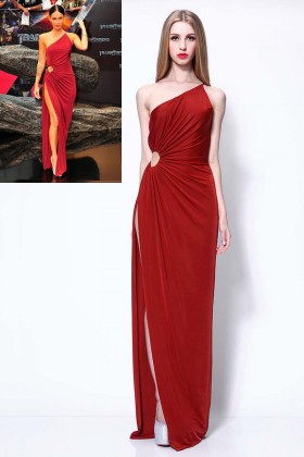 one shoulder single strap red side draped megan fox prom dress transformers 1