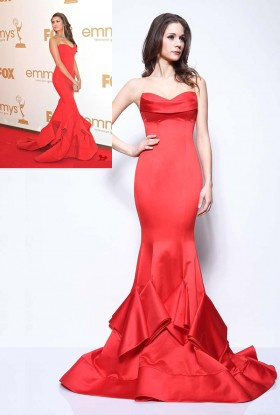 dropped waist ruffled trumpet celebrity red prom dress nina dobrev in emmys 1