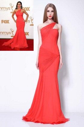 red chiffon one shoulder trumpet celebrity prom dress sofia vergara emmys 1
