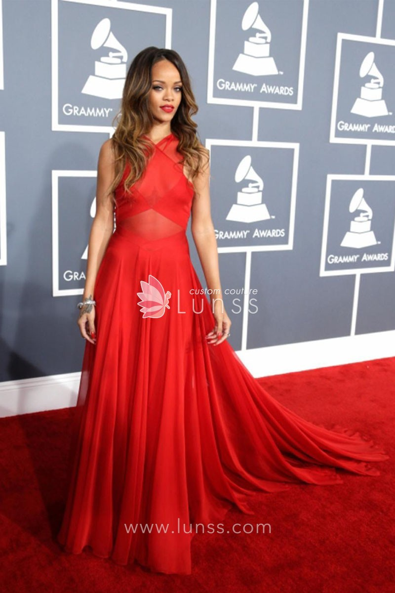 Criss cross sleeveless red chiffon a line rihanna celebrity criss cross sleeveless red chiffon a line rihanna celebrity evening prom dress 1 ombrellifo Choice Image