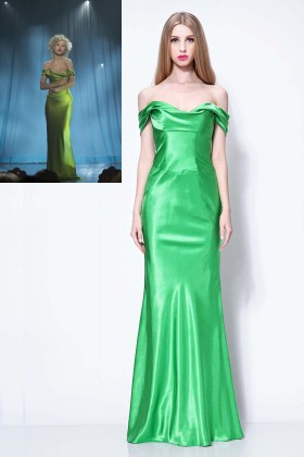 christina aguilera sexy off the shoulder green celebrity mermaid evening dress