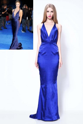 rosie huntington whiteley royal blue sexy plunging mermaid evening dress 1