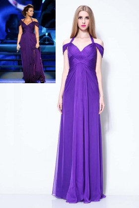 demi lovato inspired off the shoulder halter strap fashion purple prom dress 1