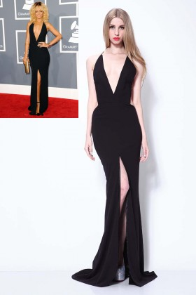sexy backless plunging slit simple long prom dress rihanna celebrity prom gown 1