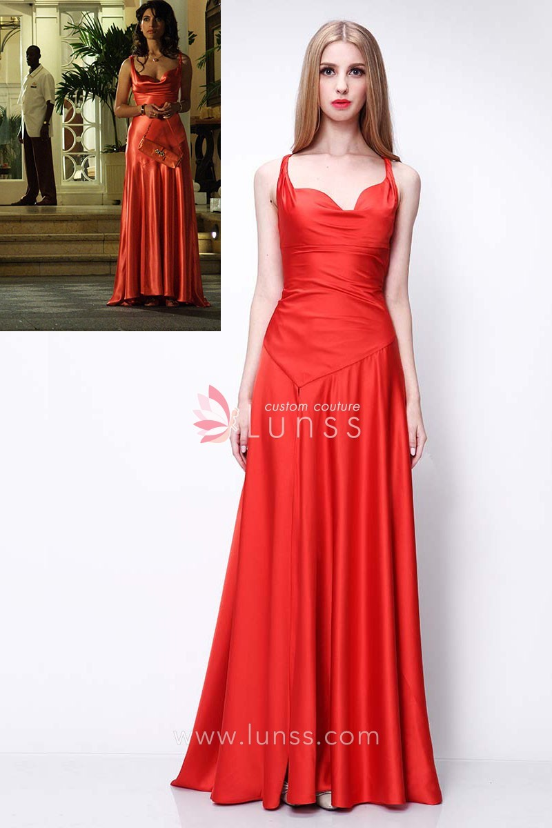 elegant red satin long evening prom dress caterina murin movie casino royale