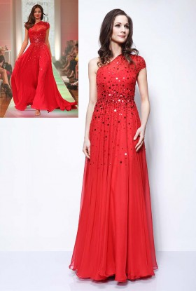 Red Sleeveless V-cut Gorgeous Fashion Long Prom Dress with ...