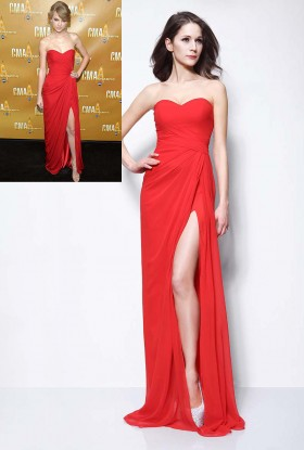 strapless sweetheart red chiffon taylor swift sexy red carpet simple prom dress