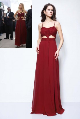 pleated cutout burgundy chiffon blake lively inspired celebrity unique prom dress 1