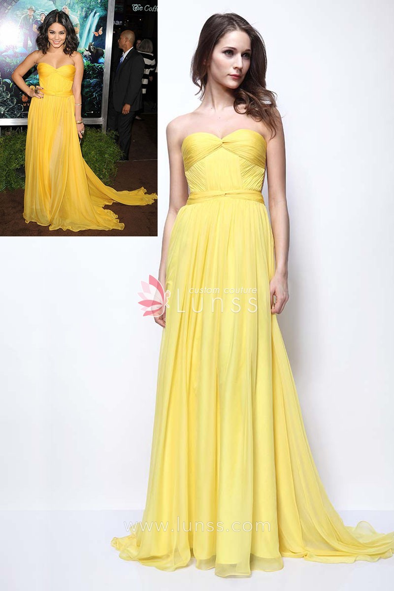 casual yellow chiffon strapless celebrity prom dress