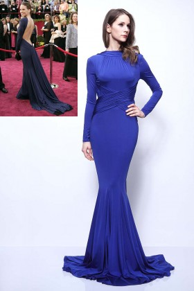 sexy open back elegant long sleeve blue formal evening dress hilary swank oscars 1