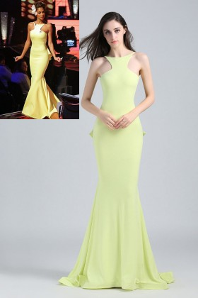 unique lemon open back celebrity nicole scherzinger mermaid evening prom dress 1