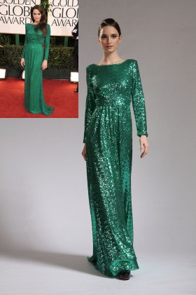 elegant bateau neck long sleeve sequin green celeb angelina jolie evening dress