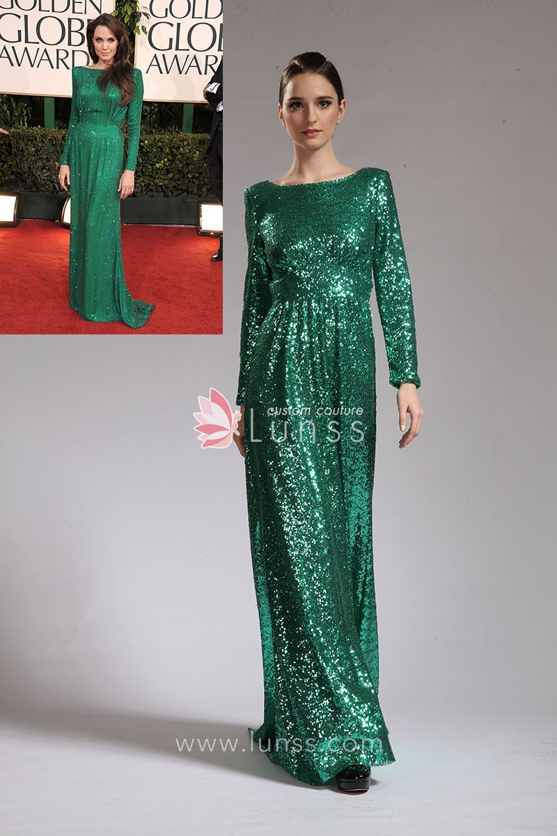 Elegant Bateau Neck Long Sleeve Sequin Green Celeb Angelina Jolie ...