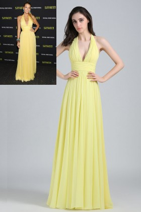 modest yellow chiffon plunging halter neck blake lively bridesmaid evening dress 1