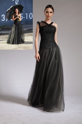 fashion black lace and tulle selena gomez asymmetrical celebrity prom dress 1