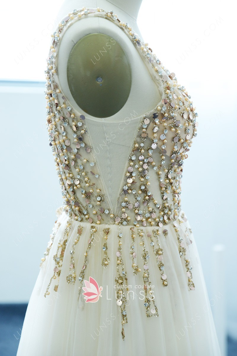 Champagne Sheer Tulle Sequins And Pearls V Neck Sleeveless