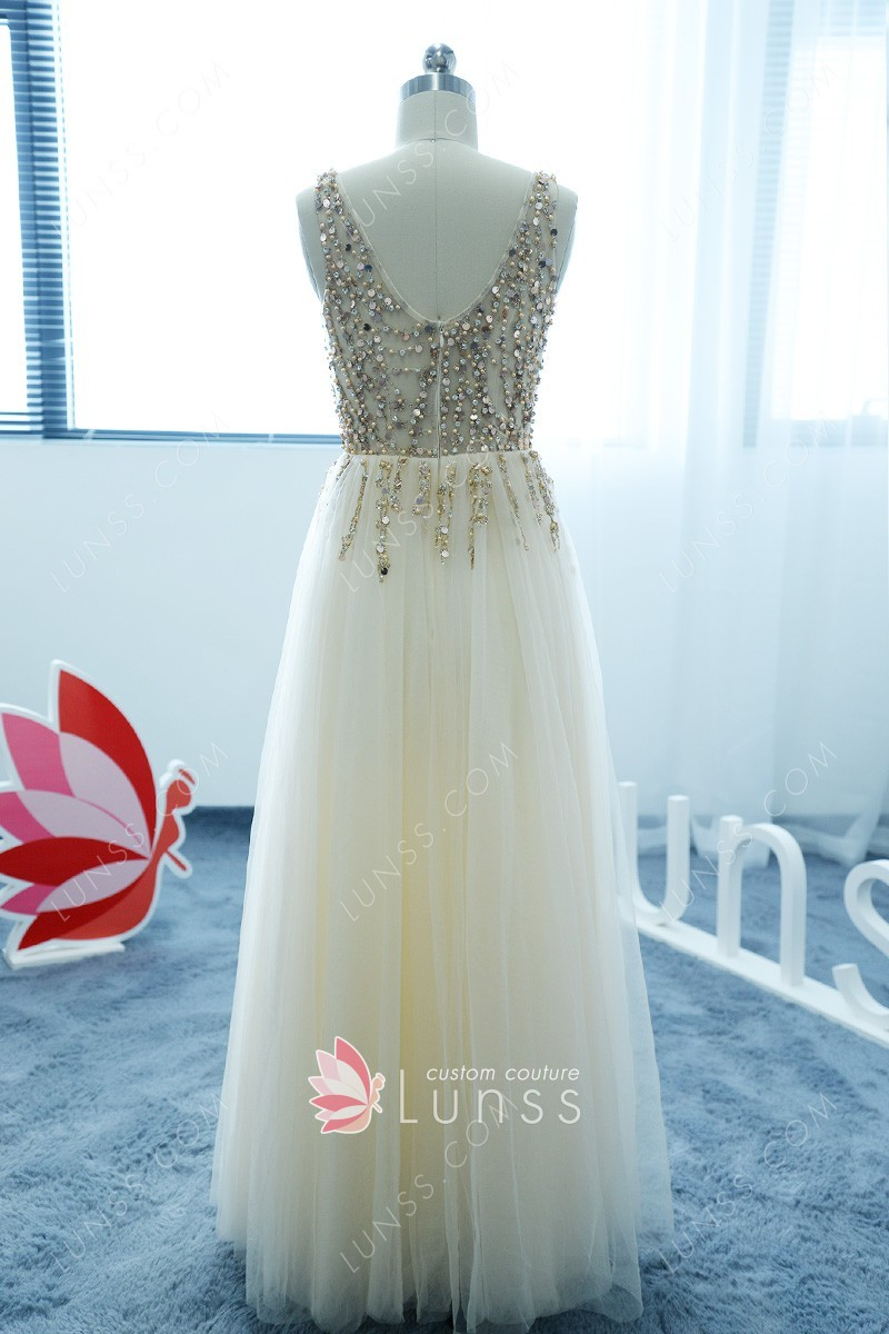 Champagne Sheer Tulle Sequins Pearls Long Prom Dress Lunss