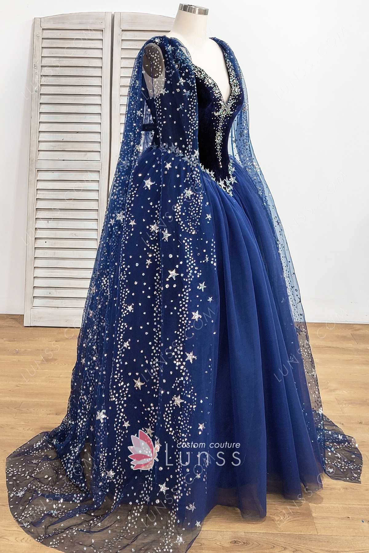Stunning Starry Night Sky Stars And Moons Beaded Long Navy